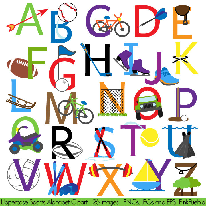 Sports Alphabet Font With Sports Letters-Sports Alphabet Font with Sports Letters Clipart by PinkPueblo-19