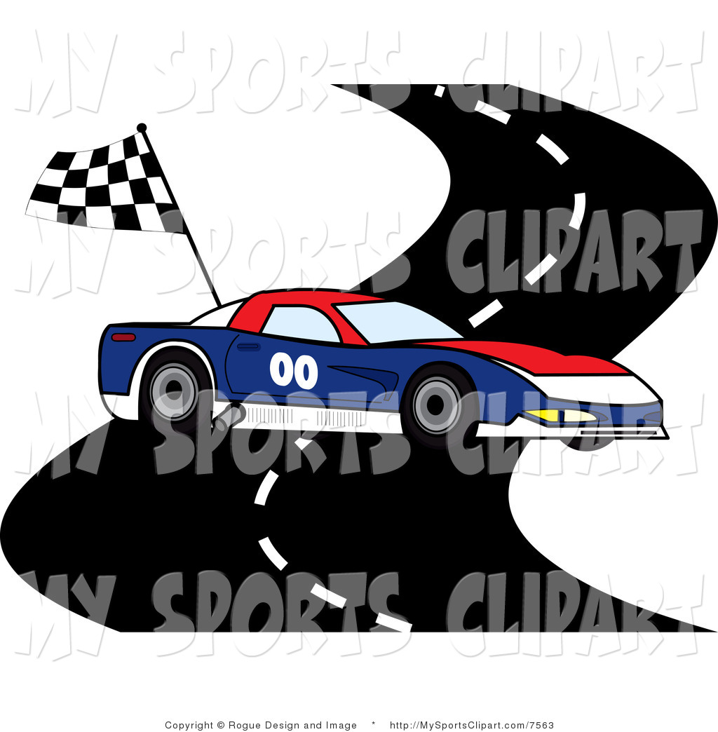 Sports Clip Art Of A Race Car On A Track-Sports Clip Art of a Race Car on a Track with a Checkered Flag by Pams-17