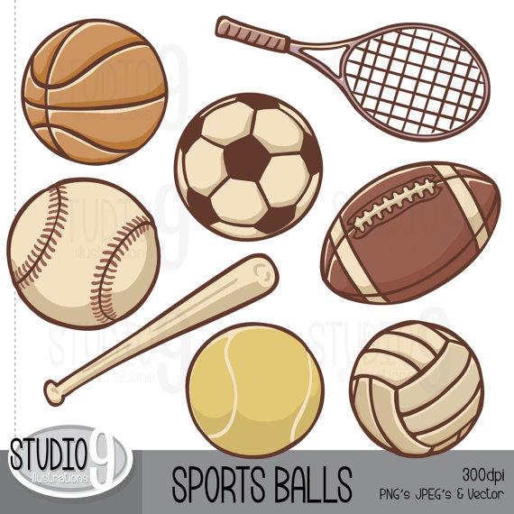 Sports Clip Art: u0026quot;VINTAGE SPORTS BALLSu0026quot; Clipart, Football Clipart Soccer Baseball Clipart