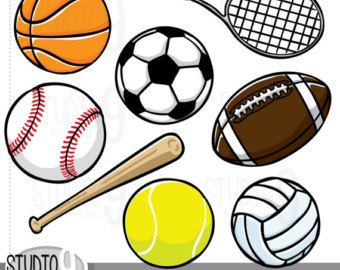 SPORTS Clip Art: Sports Download, Football Clipart Soccer Clipart Baseball Clipart Basketball Clipart Tennis Ball Vector Art Graphics