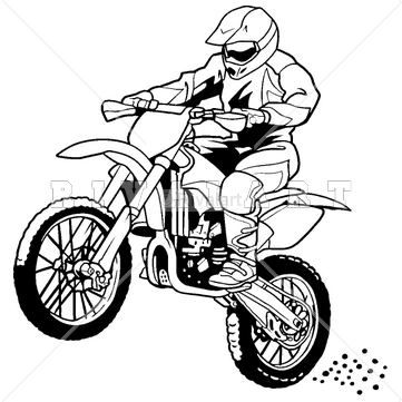 Sports Clipart Image of A Motocross Rider On A Dirt Bike