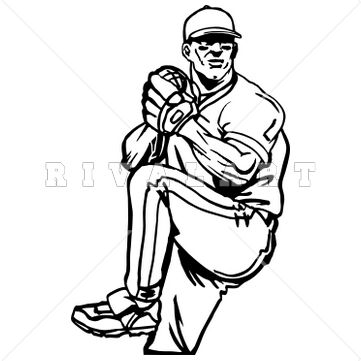 Sports Clipart Image of Black White Baseball Pitcher Pitching Fastball Curve Screw Graphic