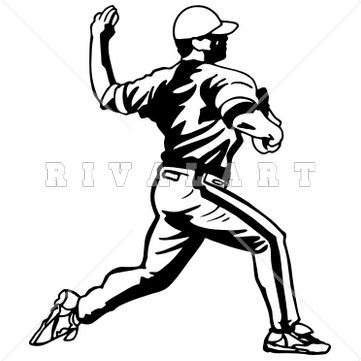 Sports Clipart Image of Black White Pitcher Baseball Players