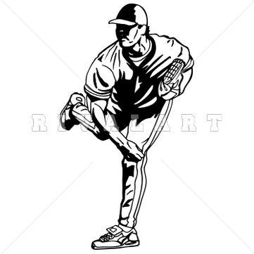Sports Clipart Image of Black White Pitcher Pitching Baseball Player | Baseball Clip Art | Pinterest | Clipart images, Sports and Black
