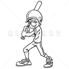 Sports Clipart Image of Graphic Baseball Youth Boys Player Batting Batter  Black White Helmet