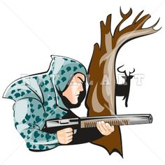 Sports Clipart Image of Hunting Hunter R-Sports Clipart Image of Hunting Hunter Riffle Shotgun Deer Buck Graphic-17