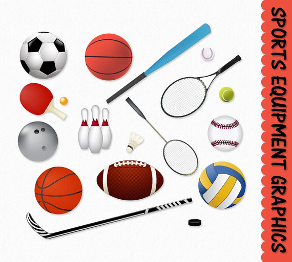 Sports Equipment Clip Art Clipart Graphic Scrapbook Basketball Football Soccer Baseball Hockey Digital Download JPG Transparent