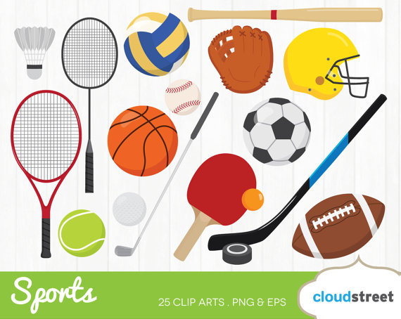 BUY 2 GET 1 FREE sports clipart / sports clip art / sports equipment clipart  ball racket bat vector illustration / commercial use ok