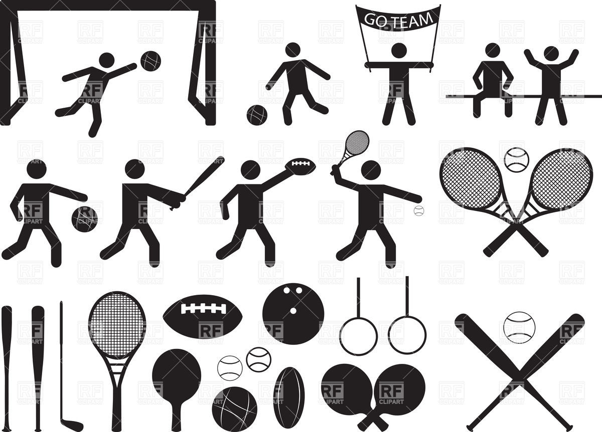 Sport pictograms - people sports equipment Royalty Free Vector Clip Art