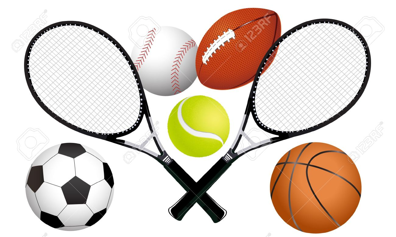 Sports ball and tennis rackets illustration