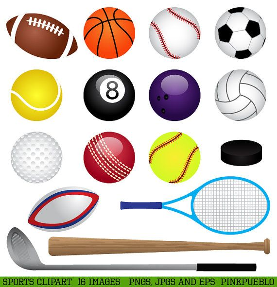 Sports Clipart Clip Art Basketball Baseball Football by PinkPueblo, $6.00