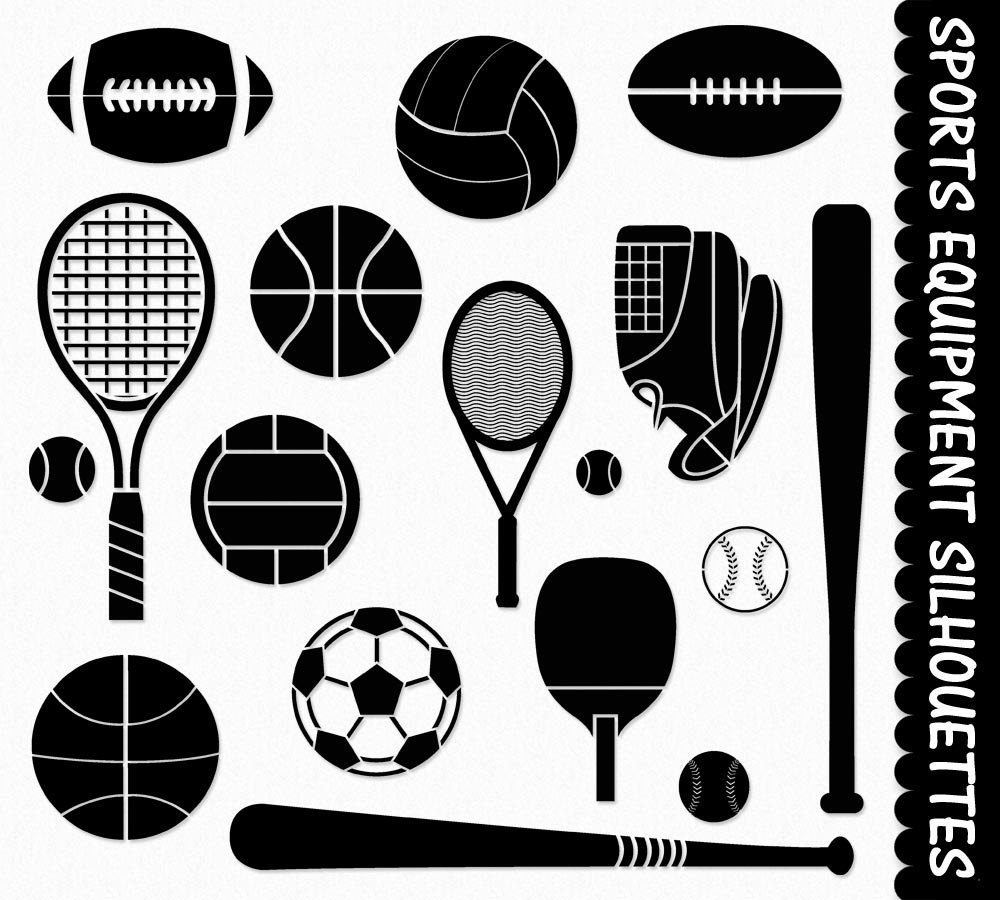 Sports Equipment Clip Art Graphics Sport Clipart Scrapbook Silhouette  Soccor Football Baseball Tennis Volleyball Digital Download PNG Vector