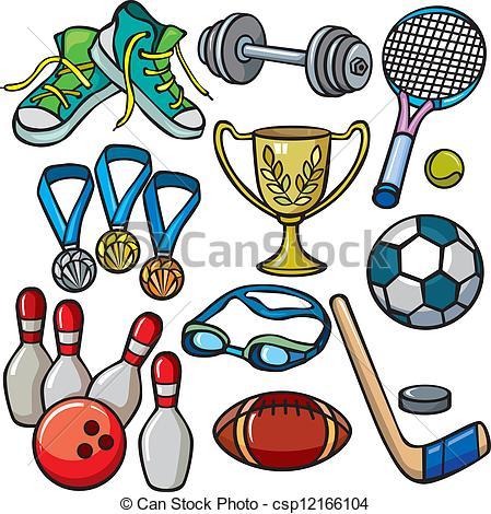 ... Sports equipment icon set