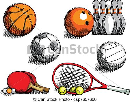 Sports Equipment - sketching sporting equipment for.
