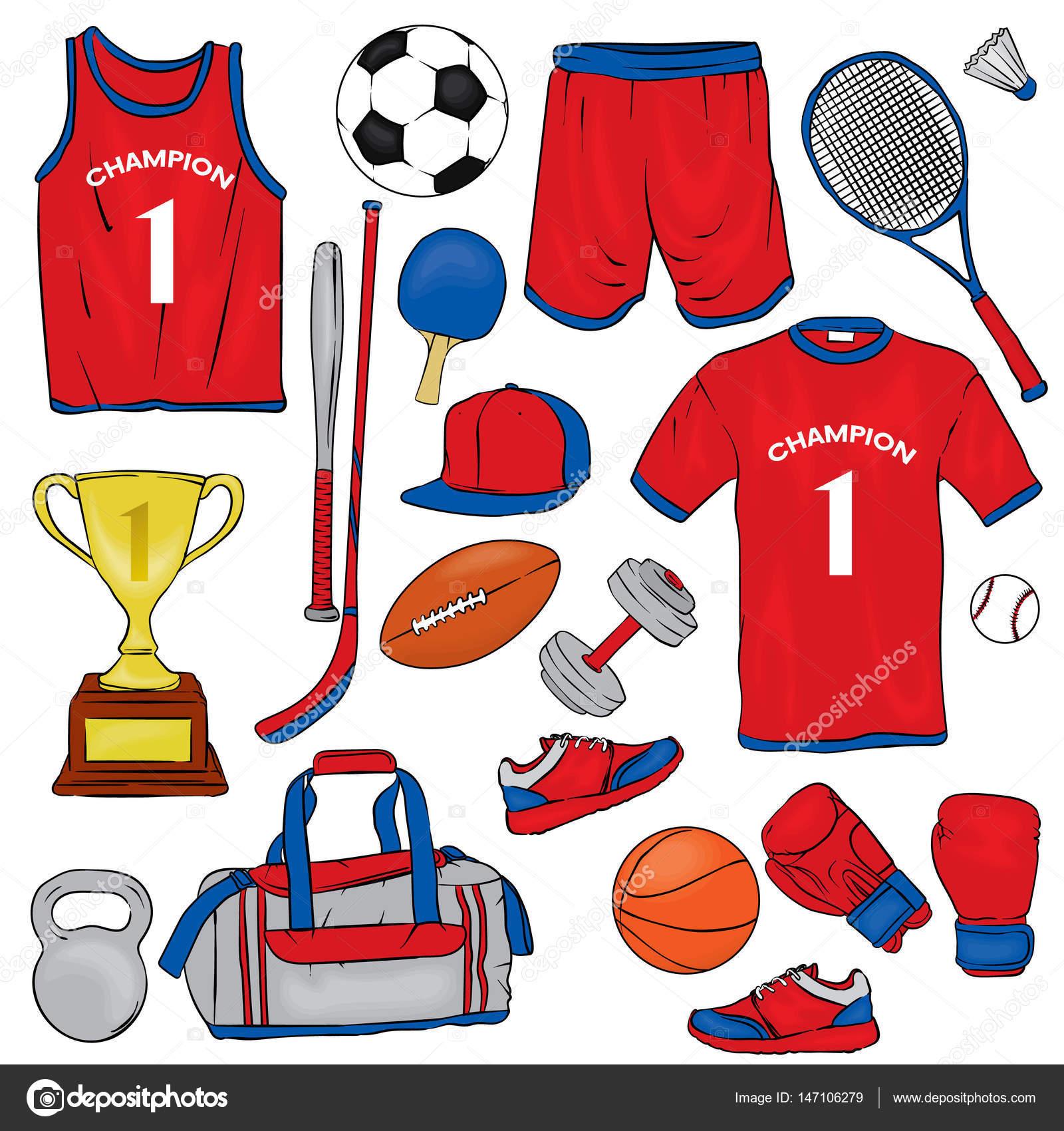 Spor Giyim Ve Spor öğeleri Kümesi. Ti-Spor giyim ve spor öğeleri kümesi. Tişört, şort, spor ayakkabı, çanta,  futbol ve basketbol, başarısız, tenis raketleri, kap, boks eldivenleri ve  kadehi ClipartLook.com -4