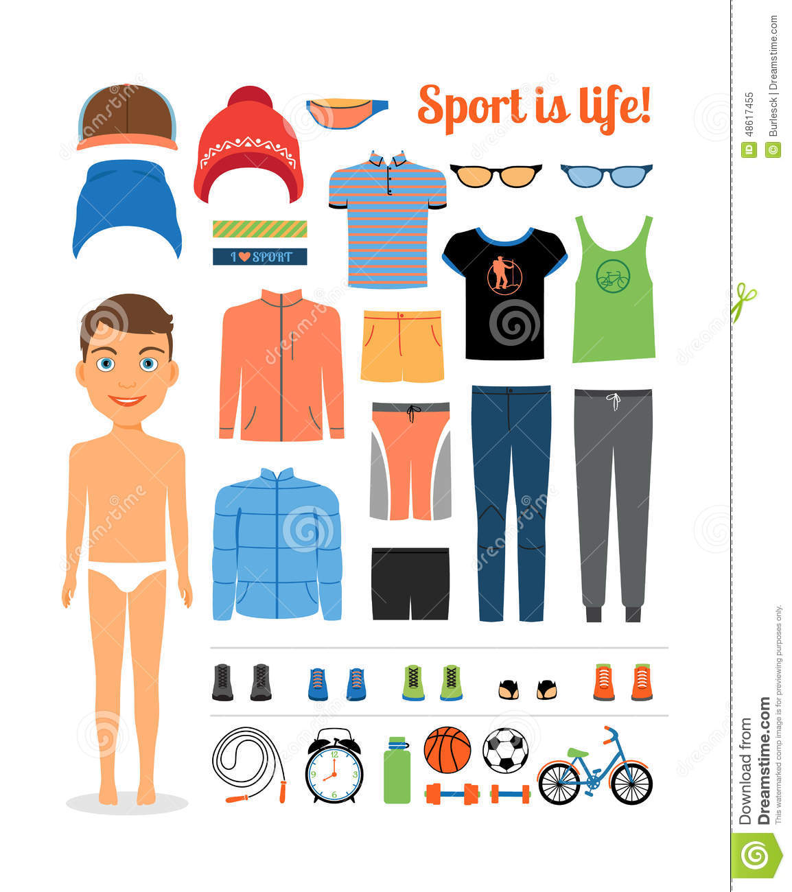 Sport Boy. Clothing And Sports Equipment-Sport boy. Clothing and sports equipment for-5