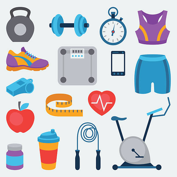 Sports And Fitness Icons Set In Flat Sty-Sports and fitness icons set in flat style. vector art illustration-7