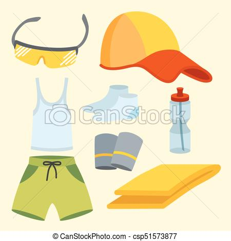 Sportswear Running Clothes Runner Gears -Sportswear running clothes runner gears for sport workout vector  illustration. training jogging fitness wear athletic clothing workout  garments.-12