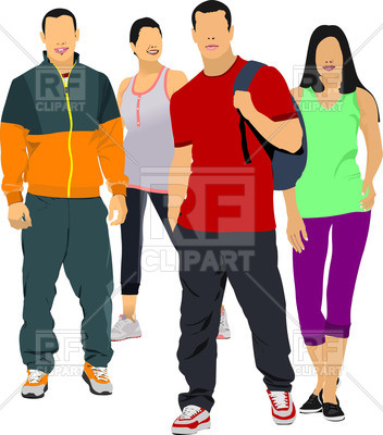 Students - Young People In Sportswear An-Students - young people in sportswear and casual clothing Vector Image u2013  Vector Artwork of People ClipartLook.com -15