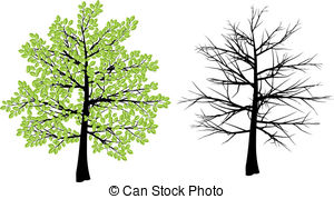 ... Spring and winter tree - Tree illustration depicting spring... Spring and winter tree Clipartby ...