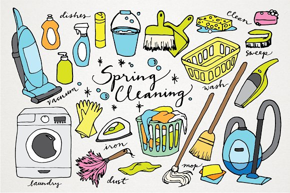 Spring Cleaning Hand Drawn Clipart - Illustrations