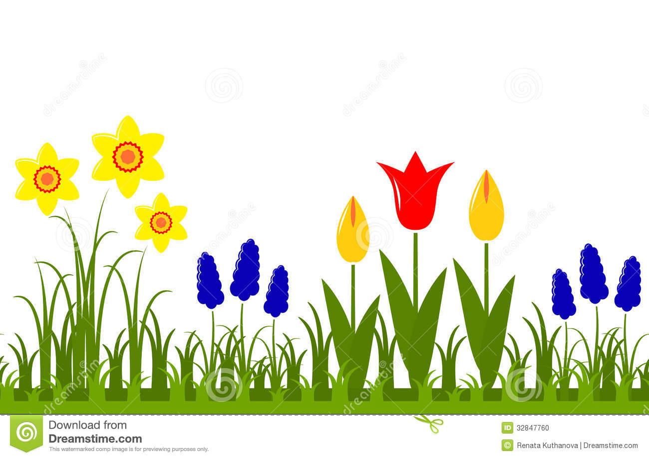 Spring Flower Border Clipart .
