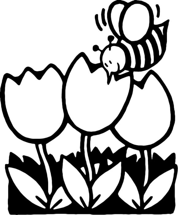Spring Flowers Clip Art Black .