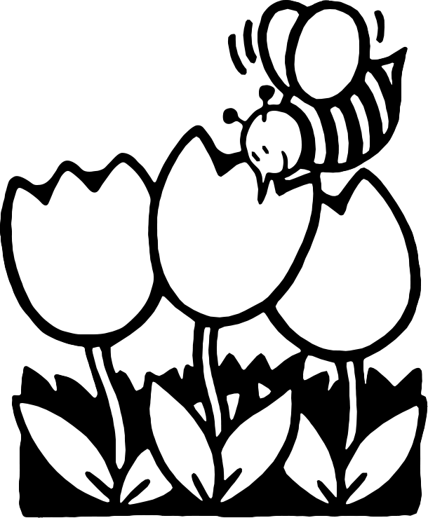 Spring Flowers Clipart Black  - Free Black And White Clip Art