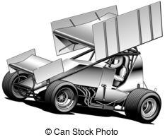 SPRINT CAR - Black Line u0026amp; Airbrush Illustration