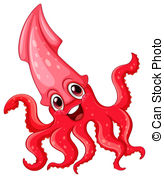 ... Squid - Illustration of a red squid