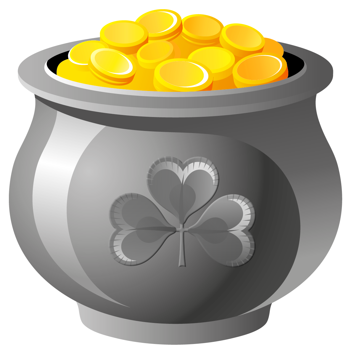 St Patrick Pot of Gold with Coins PNG Picture