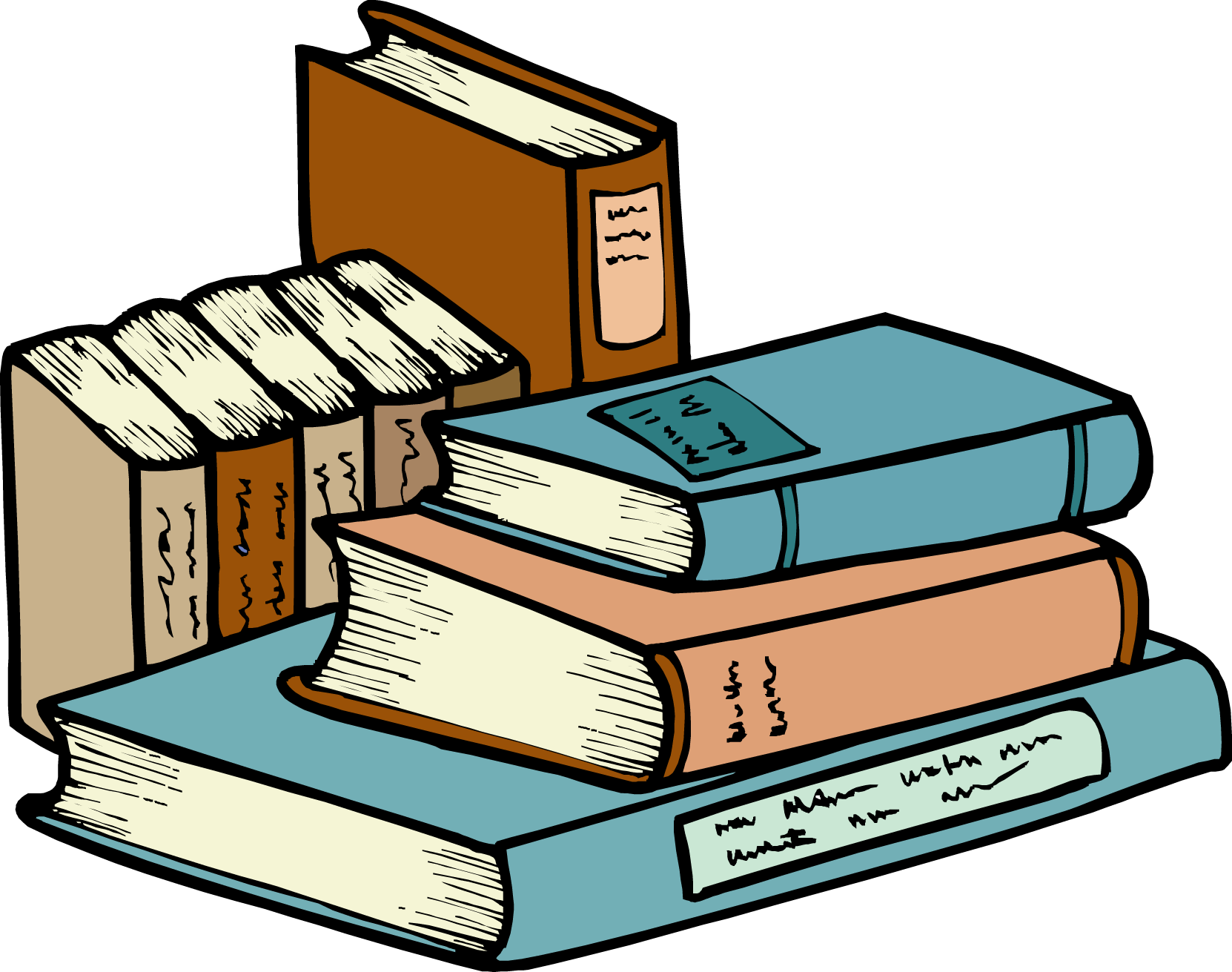 Stack of books clipart black and white free