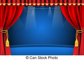 ... Stage With Curtain - Illustration Of-... Stage with Curtain - illustration of stage with flash light.-13