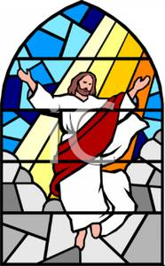 Stained Glass Window of Jesus - Clipart