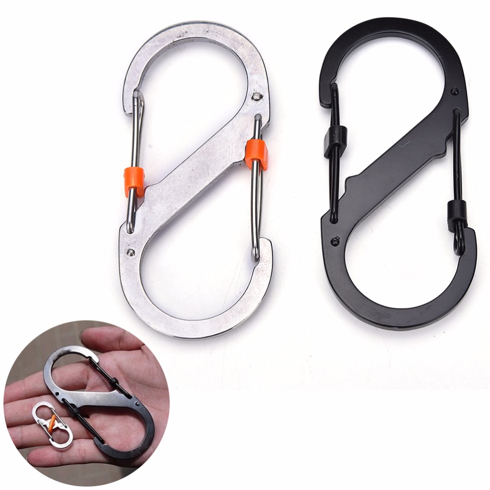 Stainless Steel 8 Shaped Buckle Snap Clip Outdoor Mountain Climbing Hiking Carabiner Safety Buckle Large Small
