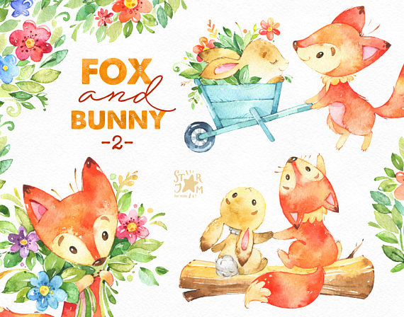 Fox and Bunny 2. Friends and Flowers, watercolor, animal clipart, cute,  woodland, forest, stars, floral, babyshower, kids, bouquets, fxbn