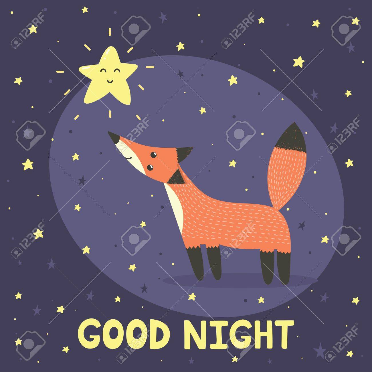 Good night card with cute fox and star. Vector illustration Stock Vector -  67681683