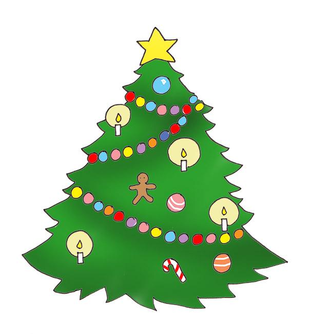 Star on Christmas tree, Christmas tree w-Star on Christmas tree, Christmas tree with baubles and candles-11