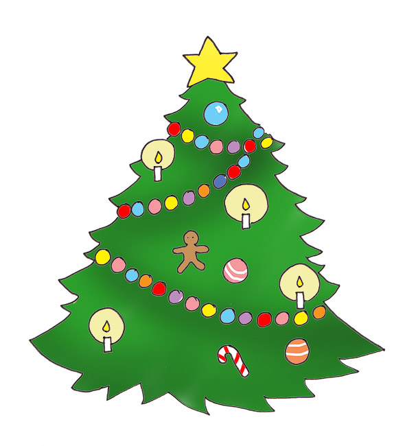 Star On Christmas Tree, Christmas Tree W-Star on Christmas tree, Christmas tree with baubles and candles-17