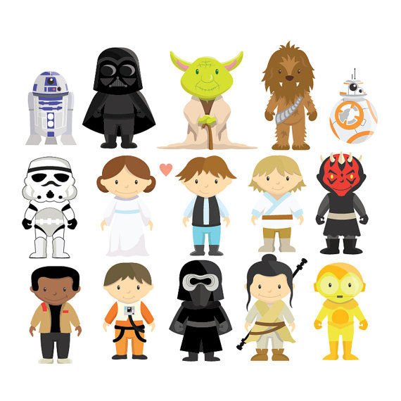 Star Wars - Clipart u0026 Vector Set - Instant Download - Personal and  Commercial Use - New Characters - BB-8 - Rey -Yoda - Finn - Poe Dameron