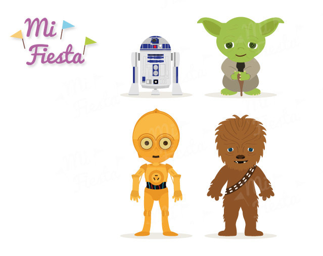 Star Wars Inspired Chewbacca, C3P0, R2D2 and Yoda Clipart birthdays Instant Digital Download Party
