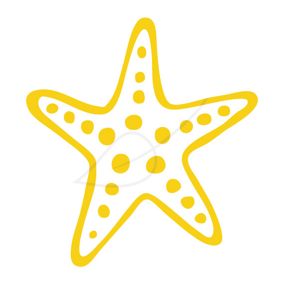 Starfish Digital Stamp Clip Art In Yello-Starfish Digital Stamp Clip Art In Yellow By Greengardenstudios-14