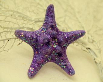 Starry Night starfish hair clip, purple starfish barette, star fish hair clip, mermaid starfish clip, the little mermaid, mermaid costume