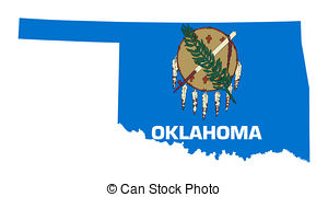 ... State of Oklahoma flag map isolated on a white background,.