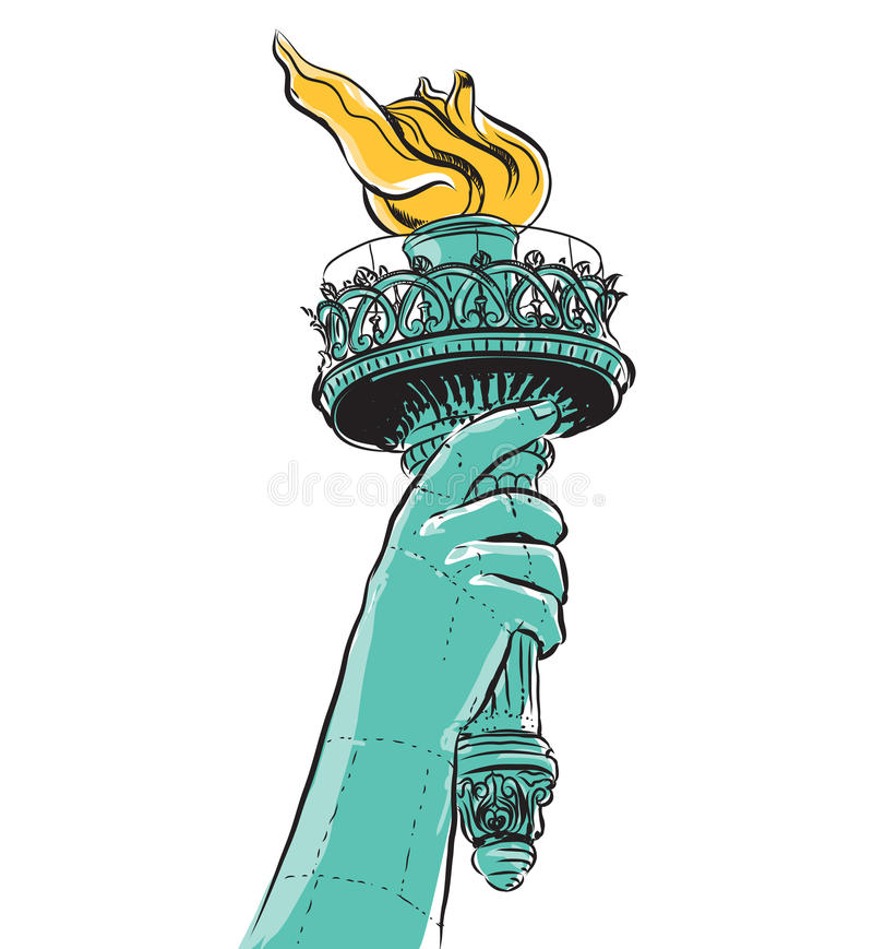 Download Statue Of Liberty Holding A Torch Stock Illustration -  Illustration of national, black: