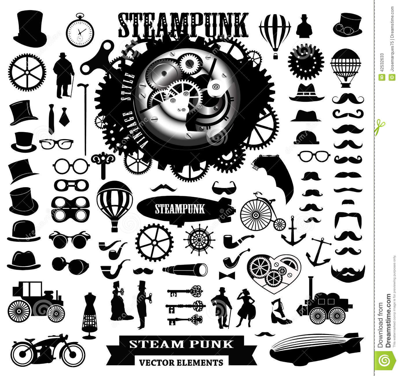 Steampunk clip art illustrations - ClipartFest