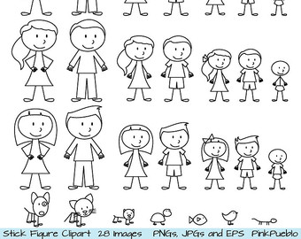 Stick Figure Clipart Clip Art, Stick Peo-Stick Figure Clipart Clip Art, Stick People Family and Pets Clipart Clip Art - Commercial and Personal Use-10