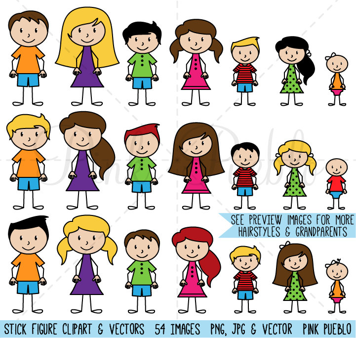 Stick Figure Clipart Clip Art Vectors, Stick People Family Clip Art Clipart Vectors - Commercial and Personal Use
