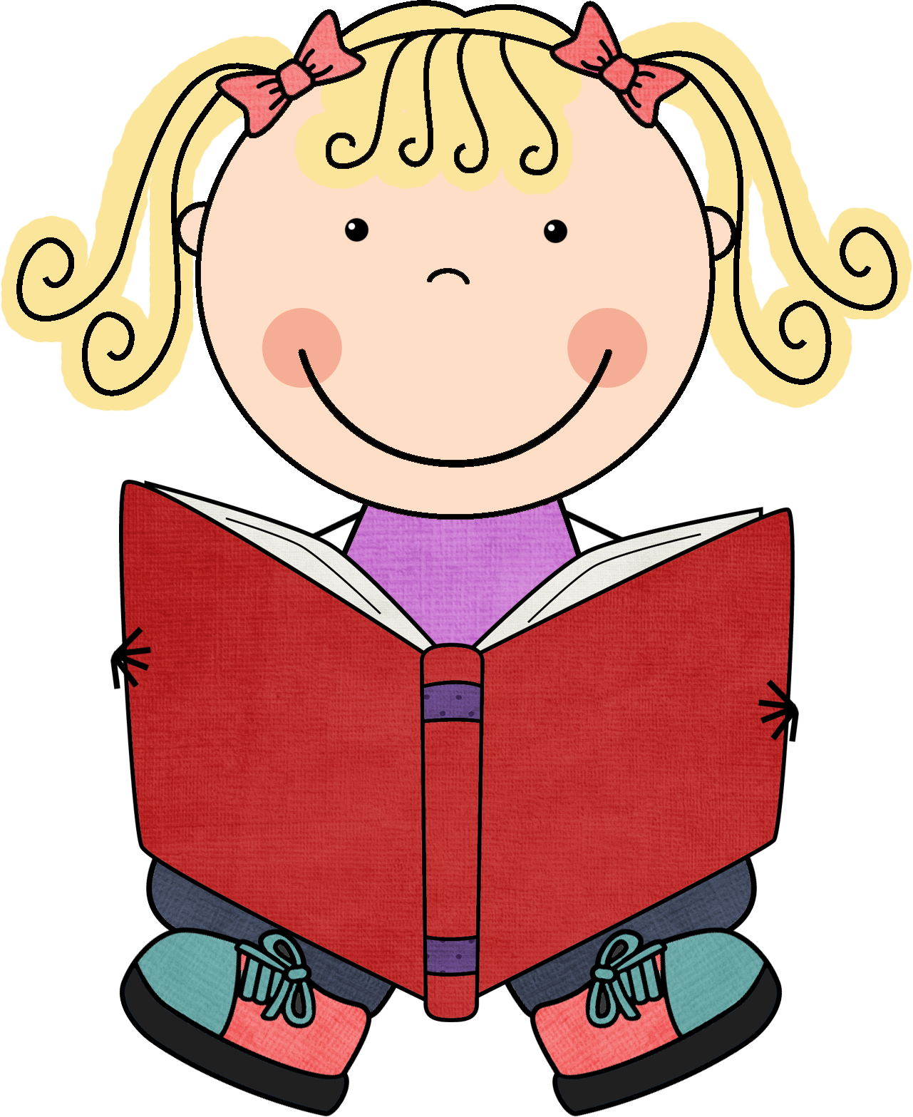 Stick kids reading clipart - ClipartFest