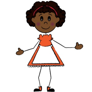 Stick People Clipart Image Stick Figure African American Girl Wearing